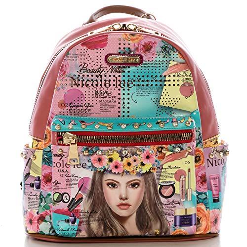 Women's Spacious Colorful Print Fashion Backpack, Adjustable Shoulder Pads (Venecia Loves Make Up)