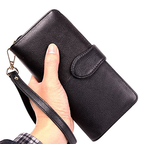 Women RFID Blocking Wallet Genuine Leather Purse Ladies Large Capacity Clutch Wristlet (Black)