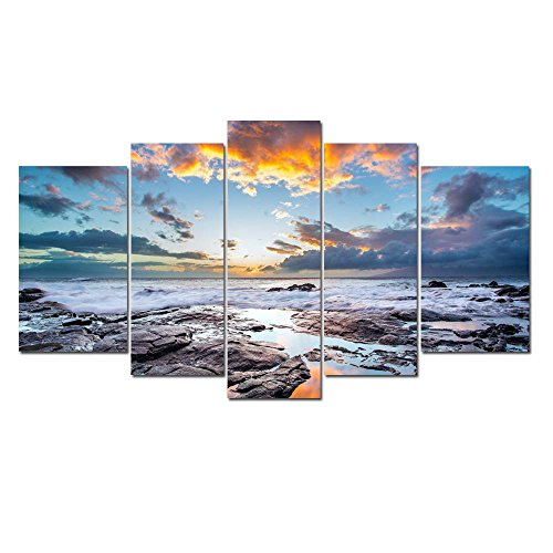LKY ART Wall Art 5 Panel Seascape Canvas Oil Painting Cloudy Sky Paintings For Living Room Photo On Canvas Landscape Large Oil Paint Kit Artwork Stretched And Framed Ready To Hang 24x44Inches
