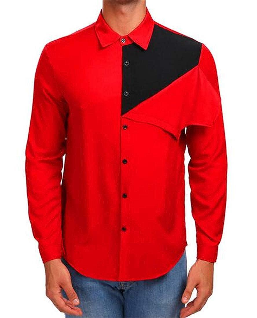 Nanquan Men Contrast Long Sleeve Curved Hem Irregular Button Down Flannel Shirts