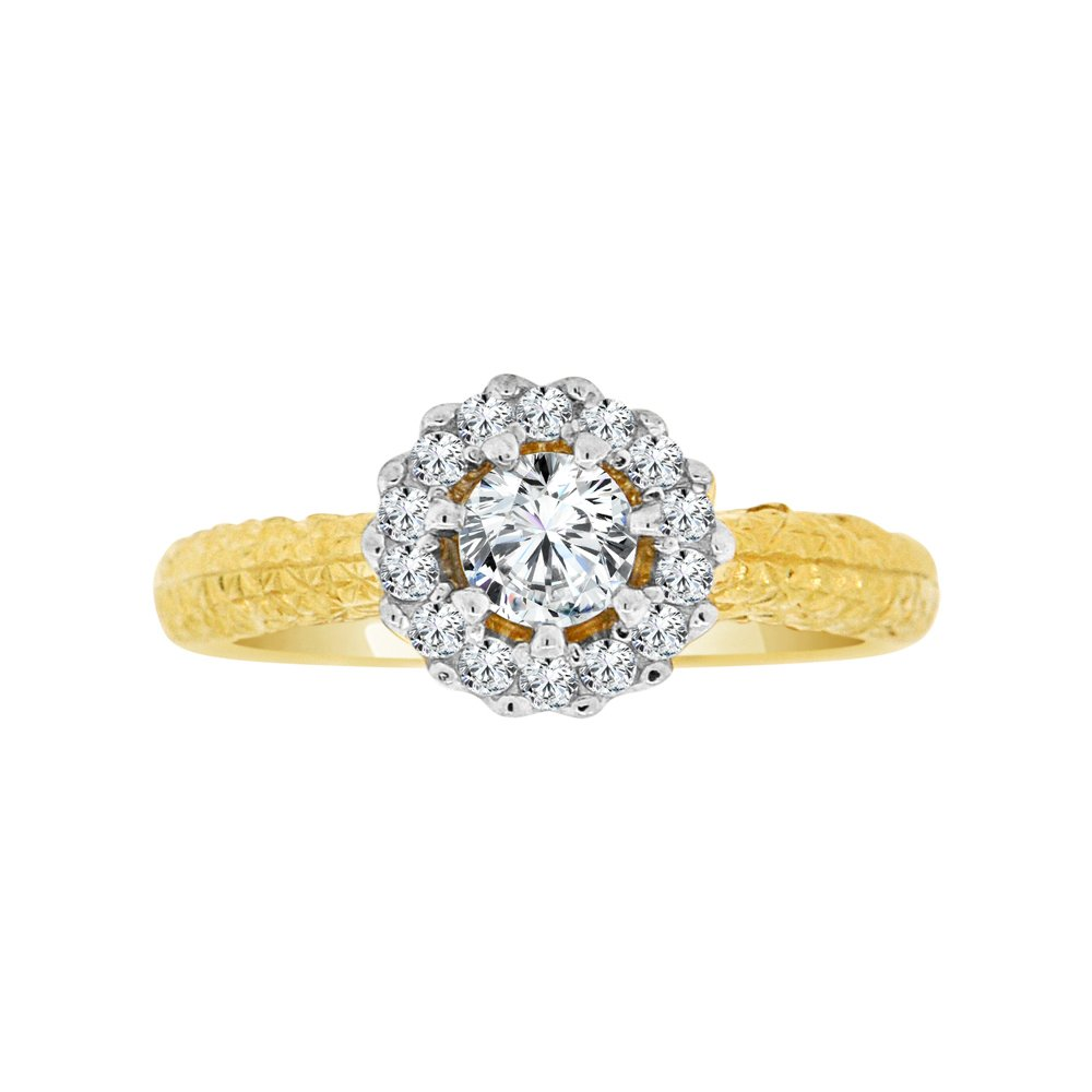 14k Yellow Gold, Lady Fancy Engagement Ring Round Created CZ Crystals 0.75ct Size 7.5