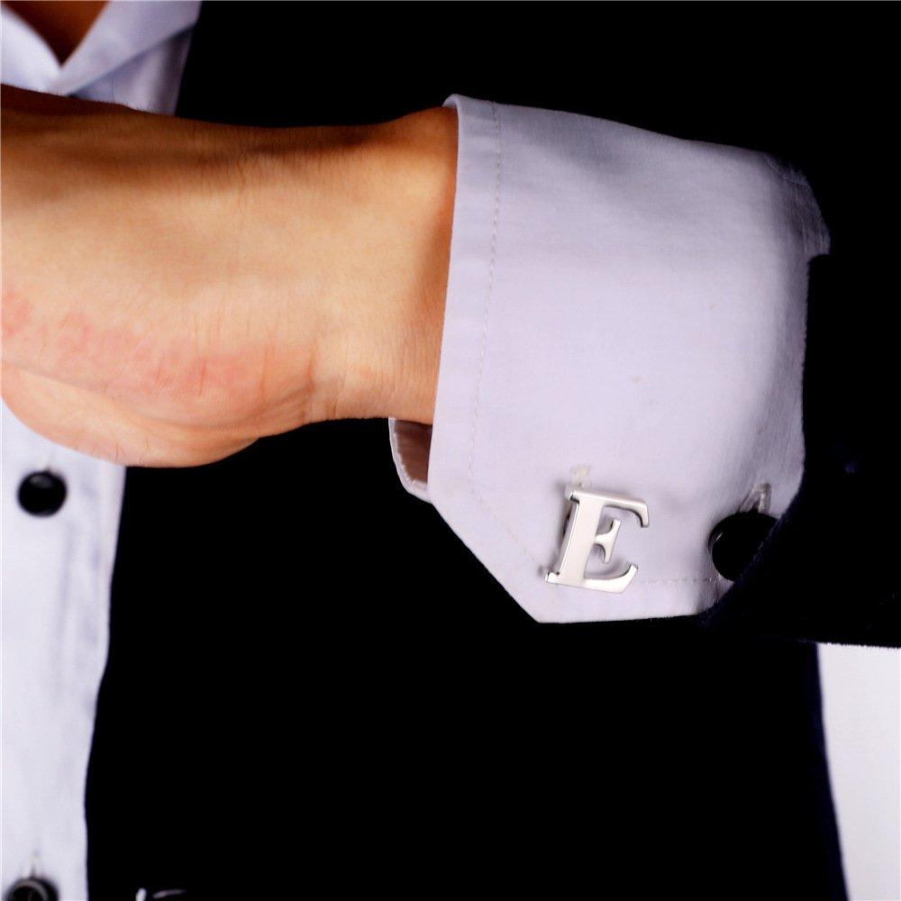 U7 Mens 1 Pair Cuff Links Set Wedding Business Shirt Studs Gold Plated 26 Alphabet Initial Letter Cufflinks