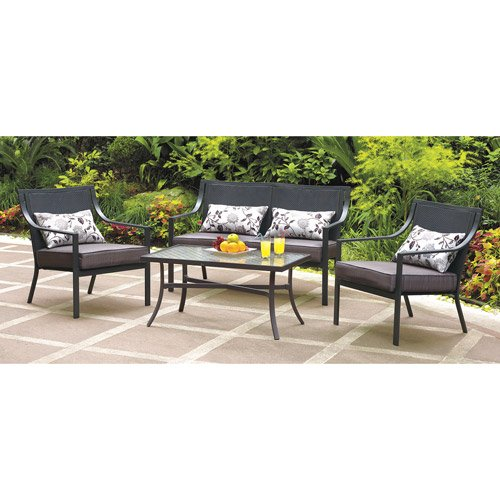 Amazon.com : Mainstays Alexandra Square 4 Piece Patio Conversation Set,  Grey With Leaves, Seats 4 : Garden U0026 Outdoor