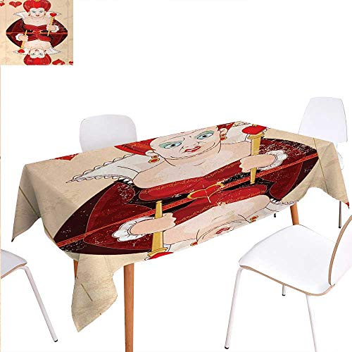 (Alice in Wonderland Rectangular Tablecloth Queen Cards Playing Alice Character in Fictional Fairy Tale Print Oblong Wrinkle Resistant Tablecloth 70