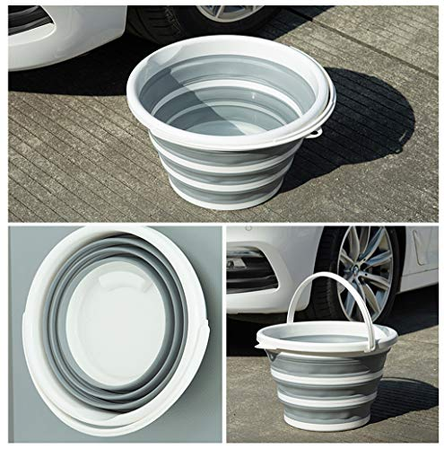Flurries Collapsible Buckets - Foldable Pail - Folding Silicone Barrel - Multi Purpose for Outdoor Storage, Beach, Camping Gear Water and Food Jug, Dog Bowls, Fishing Tub (Gray, 10L / ()