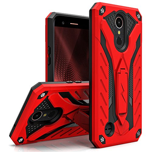 Zizo STATIC Series compatible with LG K20 Plus Case Military Grade Drop Tested with Built In Kickstand LG Harmony Case RED BLACK by Zizo