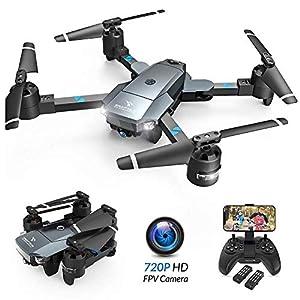 SNAPTAIN A15 Drone Pliable avec Caméra HD 720P 120° Grand Angle WiFi FPV avec Vol de Trajectoire, 3D VR, Mode sans Tête…