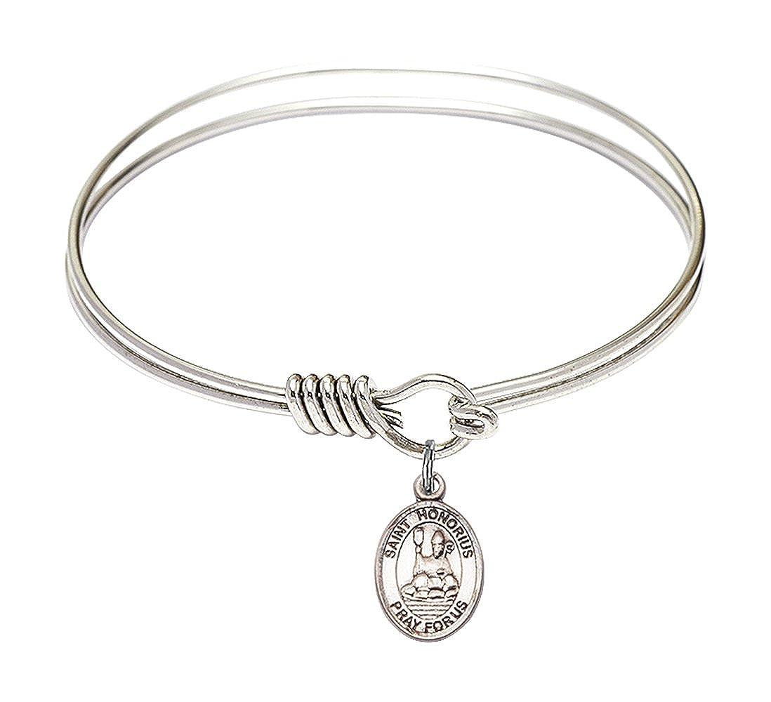 DiamondJewelryNY Eye Hook Bangle Bracelet with a St Honorius of Amiens Charm.