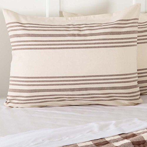 (Piper Classics Dublin Grain Sack Stripe Standard Size Bed Pillow Sham, 21