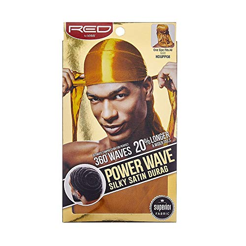 043bb9ef498e Red By Kiss Power Wave Silky Satin Durag Extra Long Tails, Gold