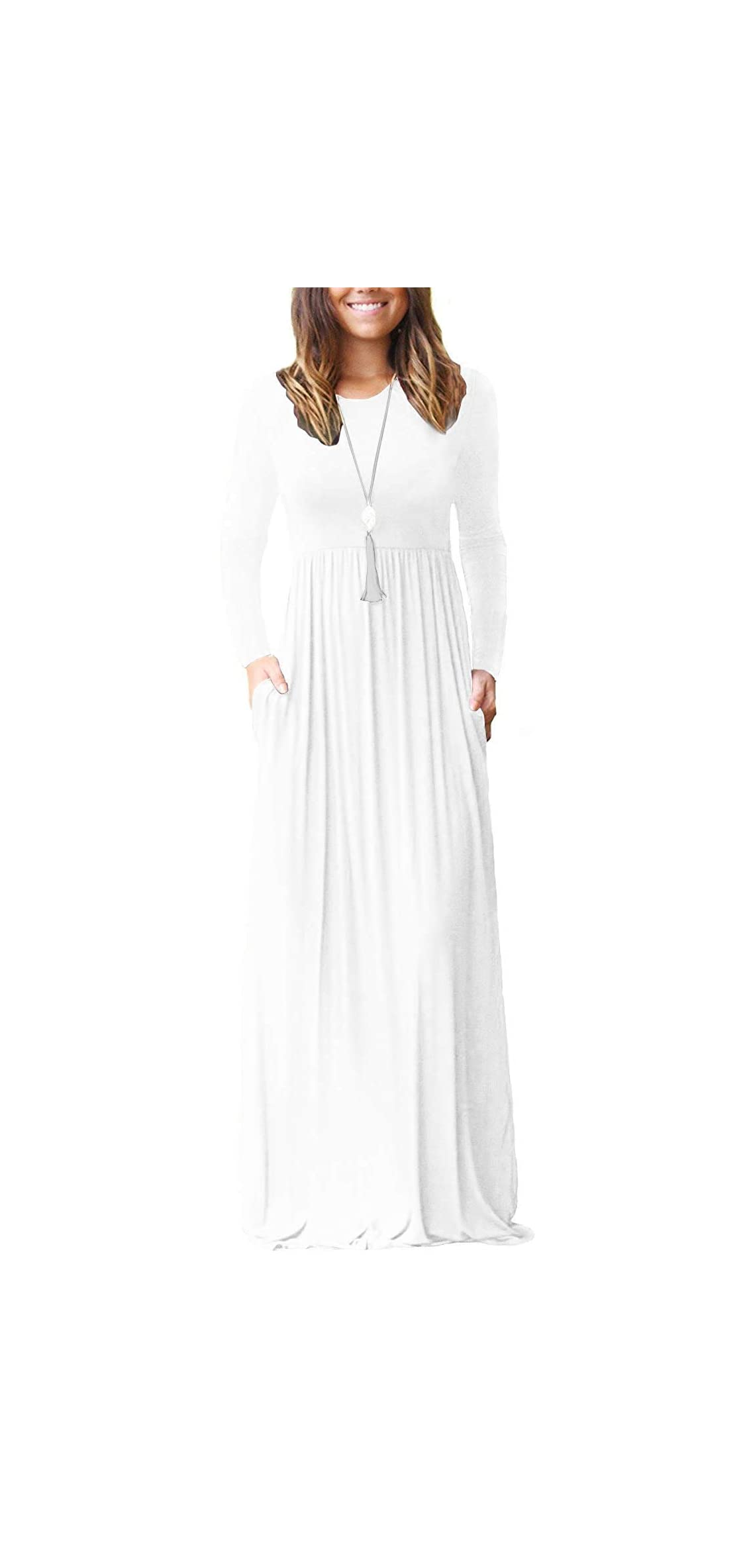 Women's Long Sleeve Loose Plain Maxi Dresses Casual Long