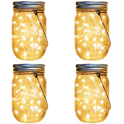 Solar Lantern Mason Jar Hanging Lights,4 Pack Fairy Firefly Starry Led String Jar Lights (Mason Jars/Hangers Included),for Mason Jar Patio Garden Lanterns Wedding Table Decor Light