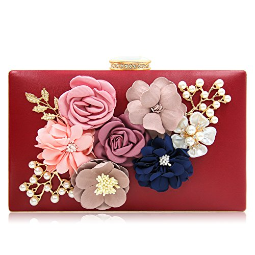 Bride Evening Bags - Milisente Women Flower Clutches Evening Bags Handbags Wedding Clutch Purse (Wine)
