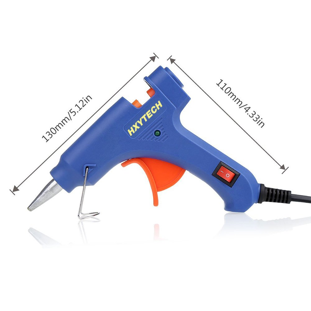 HXYTECH Mini Hot Glue Gun with 30 Pieces Melt Glue Sticks, 20 Watts Blue High Temperature Glue Gun for DIY Small Craft Projects Sealing and Repairs by Hxytech (Image #2)