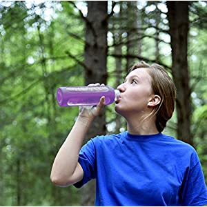 Purple Glass Water Bottle 32 oz, 1 Liter with Silicone Sleeve, Best Large Reusable Drinking Bottles on Amazon, Dishwasher & Essential Oil Safe, BPA Free, For Sports, Travel, Yoga or Gym, 1L XL