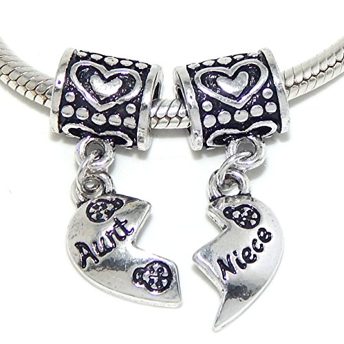 """Pro Jewelry Two Piece Dangling """"Aunt & Niece Heart"""" Charm Bead for Snake Chain Charm Bracelets"""