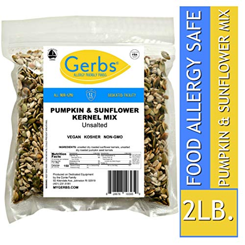 - Gerbs Unsalted Pumpkin & Sunflower Seed Mix, 2 LBS. - Top 14 Food Allergy Free & NON GMO - Vegan, Keto Safe & Kosher - Premium Dry Roasted Seeds Produced in Rhode Island