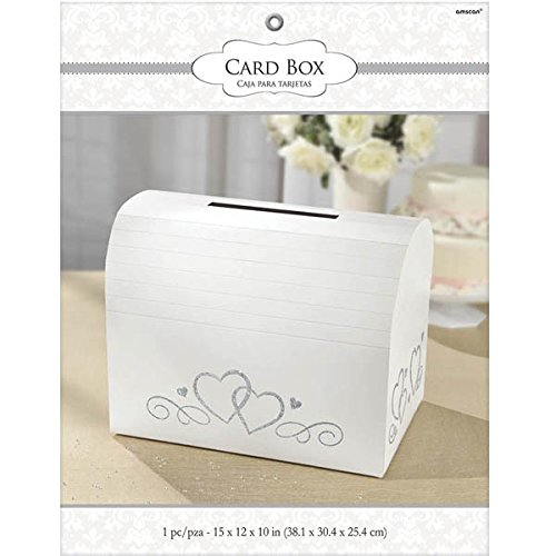 Amscan White Card Holder Box Silver Glitter Hearts | Wedding Engagement Party