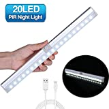 Motion Sensor Light GLIME Wardrobe Light with Adjustable Sensor Portable Wireless Auto On/Off 20 LED Cupboard Night Light USB Rechargeable Battery for Kitchen Cabinet Counter Stairs Desk [Pure White]