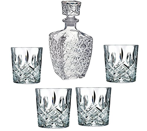 LuckYim - Specially Designed 5 Piece Decanter & Whisky Glasses, Elegant Whiskey Decanter with Stopper and 4 Cocktail Glasses