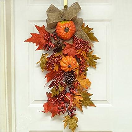 30u0026quot; Grande Pumpkin Berry Fall Door Swag   Wreath