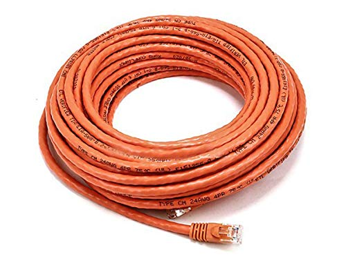 Monoprice 50FT 24AWG Cat6 500MHz Crossover Ethernet Bare Copper Network Cable - Orange (Cat5e Cable Orange Crossover)
