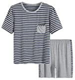 Latuza Men's Summer Sleepwear Striped Design Casual Pajama Set XL Blue Striped