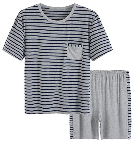 Latuza Men's Summer Sleepwear Striped Design Casual Pajama Set XL Blue Striped by Latuza