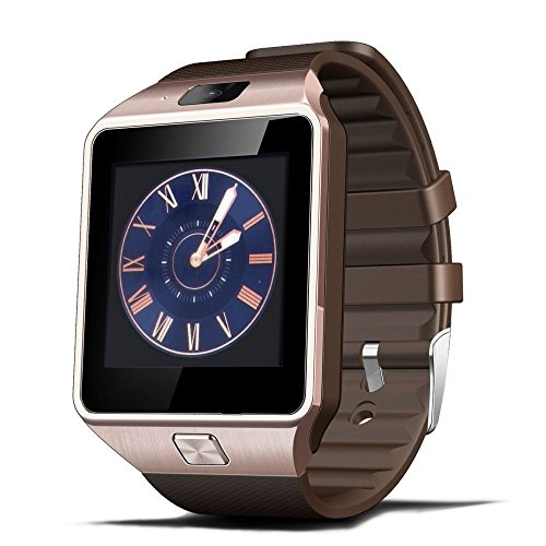 DZ09 Armbanduhr Bluetooth Smartwatch Handy-Uhr Smartwatch uhr für Android Samsung Galaxy S6/S5/S4 iPhone 6 Plus/6/5s HTC Huawei Nokia Sony Z3 mit Kamera SIM 1.56 Zoll (Golden)