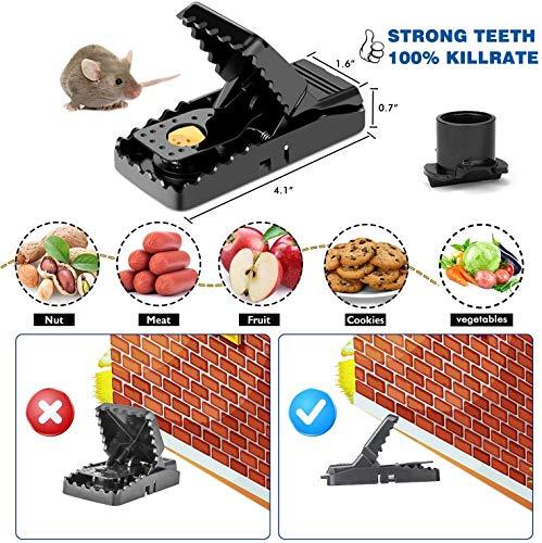 Charlemain Mausefalle, Mäusefallen Schlagfalle aus Kunststoff(6 Pack), effektive, ökologische und Wiederverwendbare Rattenfalle, Tötungsfallen