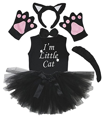 Petitebella Headband Bowtie Tail Gloves Shirt Skirt 6pc Girl Costume (Black Cat, 5-6 Yr) -