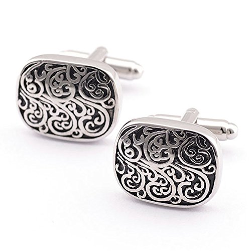 Valdler Men Cufflinks Classic Vintage Carved French Cuff Links Gift Boxed