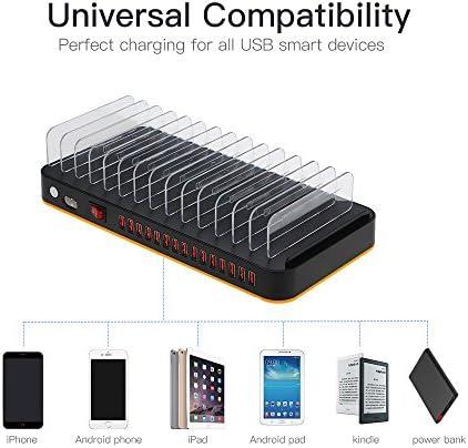 Ashey Stazione di Ricarica, Hub USB divisori Regolabili a 15 Porte, Stazione di Ricarica Intelligente per Caricabatterie, Desktop Multi Dispositivo Dock per telefoni