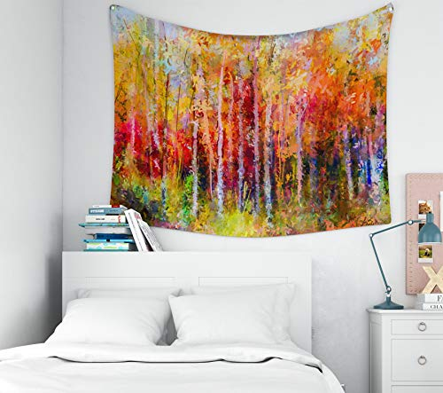 Sertiony Hanging Wall Tapestry, Art Map Tapestry Décor 80x60 Inches Painting Landscape Colorful Autumn Trees Semi Abstract Paintings Image of Forest Aspen Tree for Bedroom Colorful Big Tapestries ()