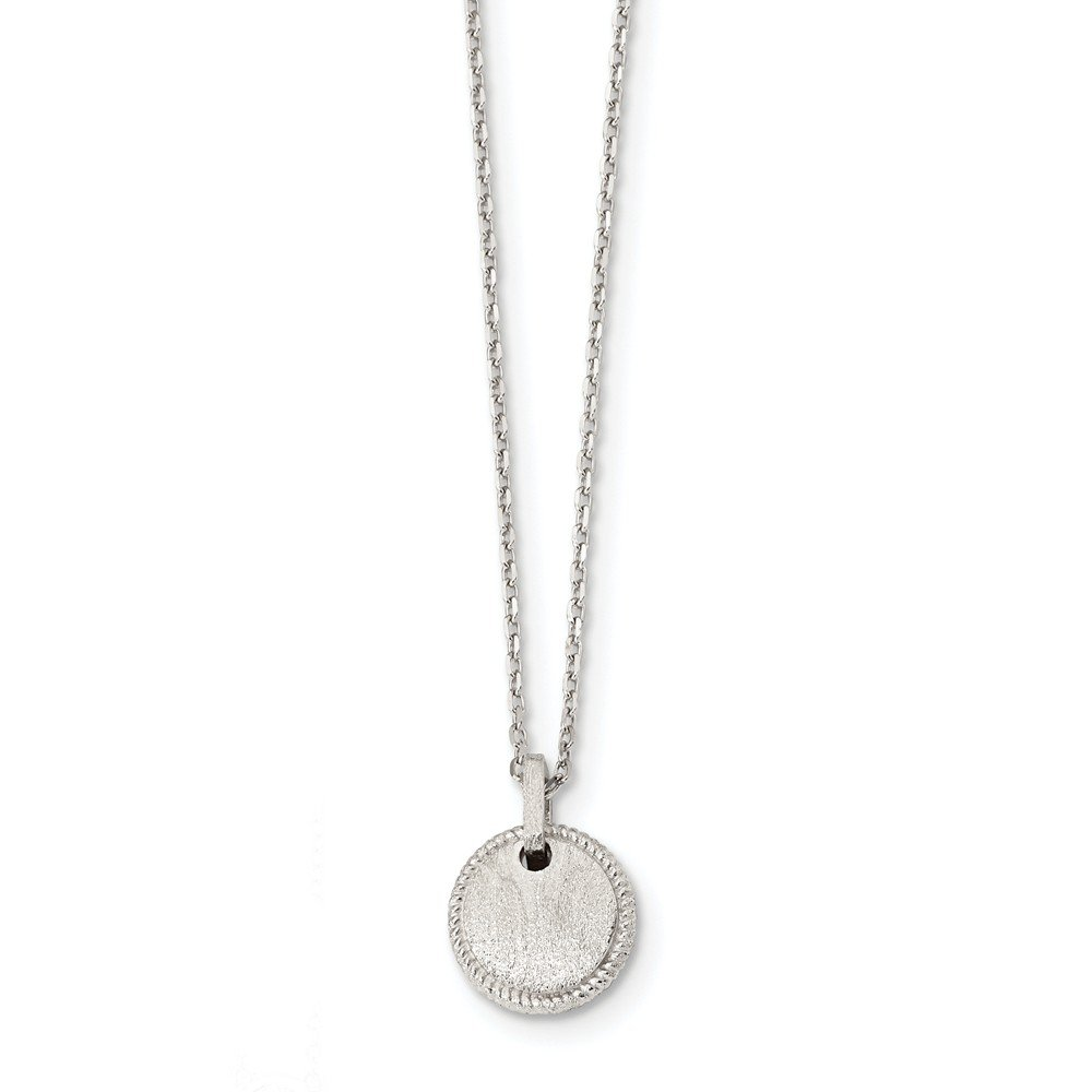 Necklace 16 Length 925 Sterling Silver Rhodium-plated Matte Puffed Circle with 2in ext