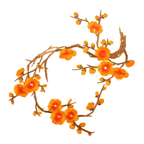 MagiDeal 1Pcs Plum Blossom Flower Embroidery Lace Applique/Patch Motifs - Orange, 37cm14cm