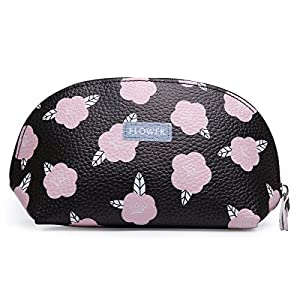 Portable Cosmetic Bag Floral Print Cosmetic Pouch Bag Women's Accessories Toiletries Travel Toiletry Bag Flower (Black)