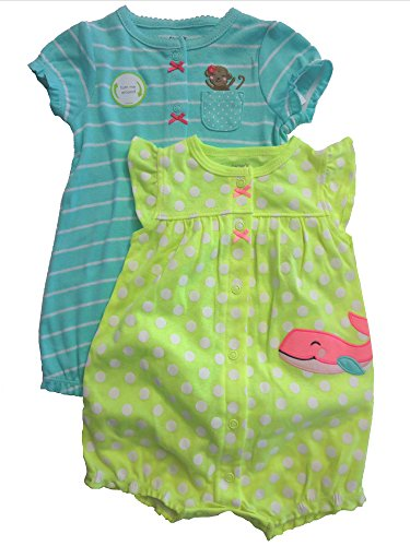[Baby Girl 2 Adorable Outfits Rompers Snaps Cute Polka Dots 9 MONTH old infant] (Munchkin Outfits)