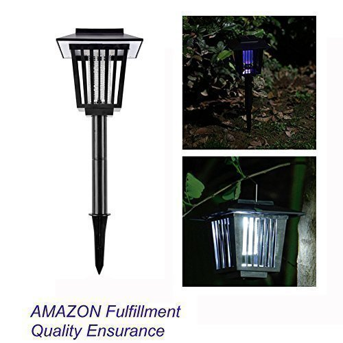 Vexverm Solar Insect Zapper, LED Mosquito Bug killer - Insect Bug Worm Zapper- Hang or Stake in the Ground - Cordless Garden Lamp- Best Stinger for Mosquitoes/Moths/Flies