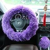 Ogrmar Winter Warm Faux Wool Steering Wheel Cover with Handbrake Cover & Gear Shift Cover for 14.96' X 14.96' Steeling Wheel in Diameter 1 Set 3 Pcs (Purple)