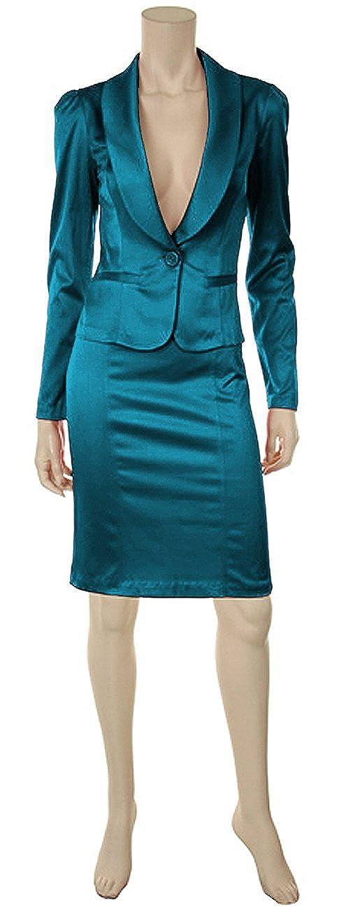 Business Kostüm Outfit Damenkostüm Blazer u. Rock Twill City Ensemble Tealblau) NL4760-1st