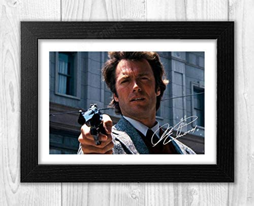 297 x 210mm Clint Eastwood Dirty Harry Signed Autographed Canvas A4 Size