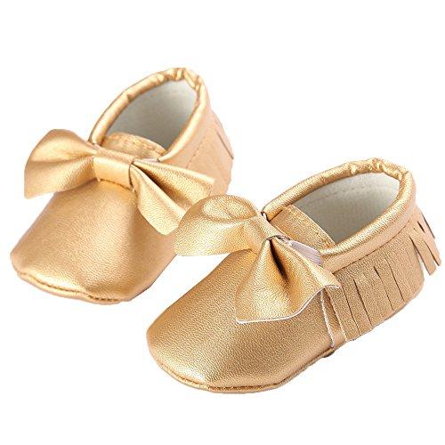 waylongplus Prewalker infantil suave soled borla Bowknots Cuna zapatos PU Moccasins rojo rojo oscuro Talla:13 (12-18 Months) dorado
