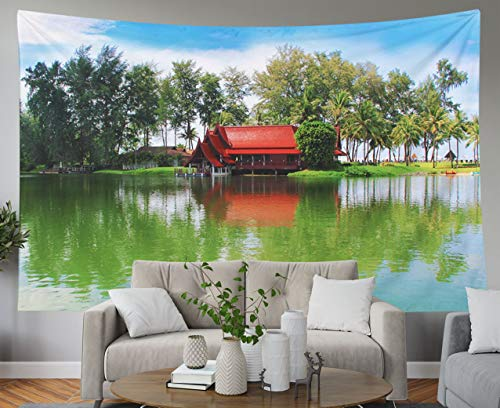 Shorping Blue Tapestries, 80x60Inches Hanging Wall Tapestry for Décor Living Room Dorm on a Lake