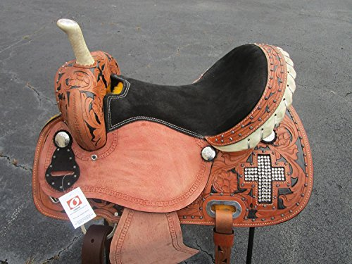 15 16 CROSS STONE SILVER SHOW LEATHER BARREL RACING RACER PLEASURE WESTERN HORSE SADDLE (16) (Billy Cook Barrel Racer)