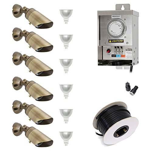 Lightkiwi Y7484 Low Voltage LED Landscape Lighting Kit - (6) Downlight Kit