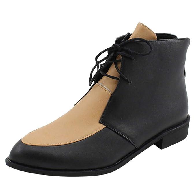 Botines Mujer Cabeza Redonda ZARLLE Zapatos con Cordones de Cuero ...