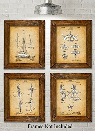 Original Sailing Patent Art Prints - Set of Four Photos (8x10) Unframed - Great Gift for Sailors, Boat Owners or Beach House Decor - Boat Photo Print