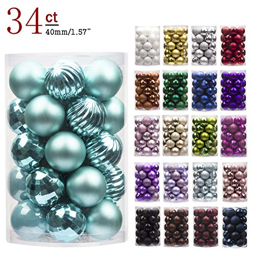 KI Store 34ct Christmas Ball Ornaments Shatterproof Christmas Decorations Tree Balls Small for Holiday Wedding Party Decoration, Tree Ornaments Hooks Included 1.57 (40mm Teal)