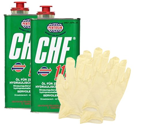 Pentosin CHF 11S Synthetic Hydraulic Fluid (1 Liter) Bundle with Latex Gloves (6 Items) (Power Steering Pentosin)